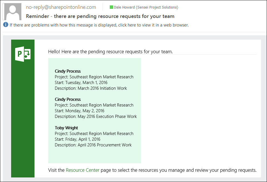 Figure 7: Reminder e-mail about pending Resource Engagement requests