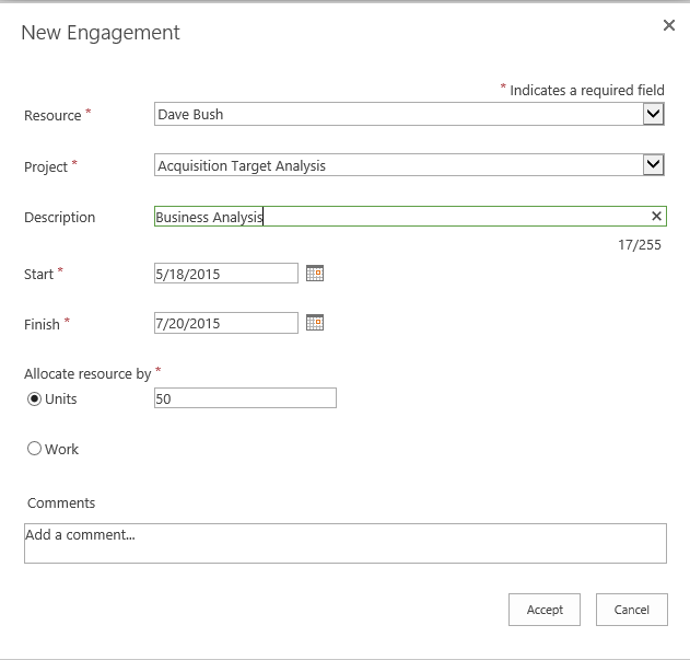 Figure 6: New Engagement Dialog Box Project Online
