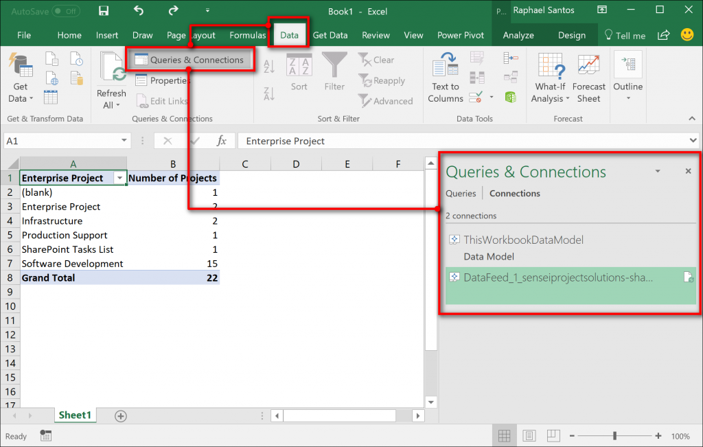 Retrieving Data from Project Online with Excel 2016 | Sensei